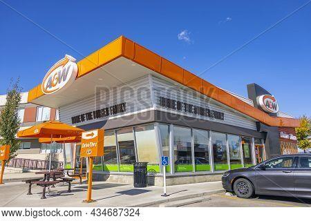 Calgary, Alberta. Canada Sep 26, 2021. A&w Restaurants, Inc. A Chain Of Fast-food Restaurant Buildin