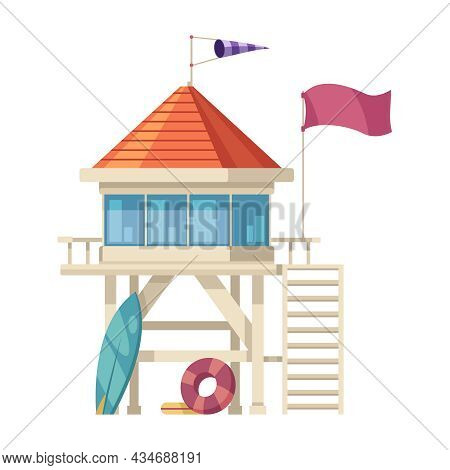 Lifeguard Tower With Surfboard And Flotation Ring Cartoon Icon On White Background Vector Illustrati