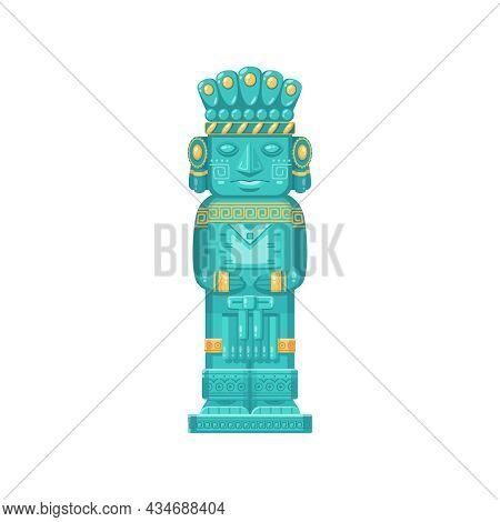 Maya Civilization Ritualistic Totem Statue On White Background Cartoon Vector Illustration