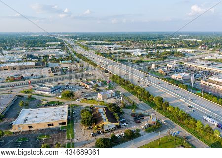 20 September 2021 Houston, Tx Usa: Top View Over The Traffic Backed Up During Rush Hour On 45 Inters