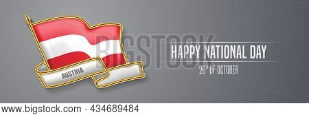 Austria Happy National Day Greeting Card, Banner Vector Illustration