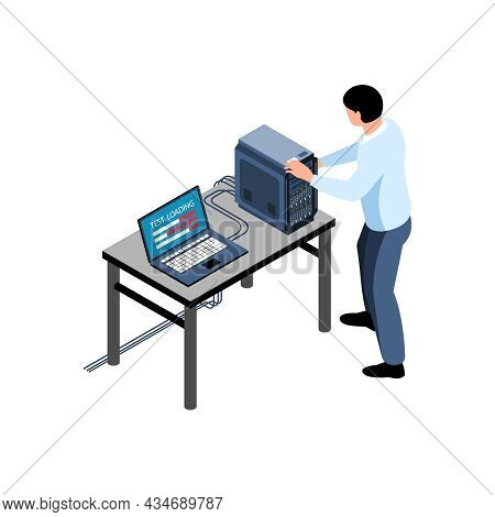 Isometric Icon With Sysadmin Testing Hardware 3d Vector Illustration