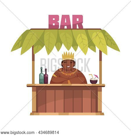 Hawaiian Wooden Bar Stall With Smiling Man Selling Cold Drinks Cartoon Vector Illustration