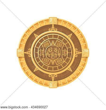 Maya Civilization Solar Calendar Cartoon Icon On White Background Vector Illustration