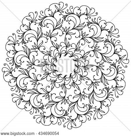 Abstract Tangled Mandala With Swirls And Doodle Flowers, Meditative Coloring Page And Ornate Element