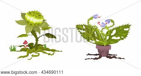 Monsters Plants For Halloween Holiday. Flat Style Vector Stock Illustration