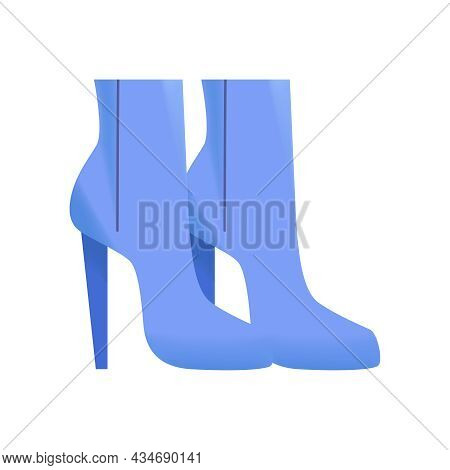 Pair Of Female High Heeled Blue Boots On White Background Flat Vector Illustration