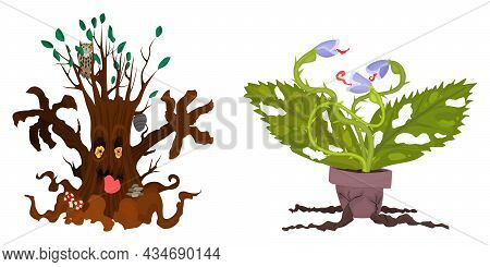 Halloween Tree And Bush Potted Characters. Flat Style Vector Stock Illustration