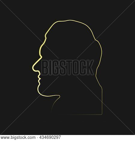 Neon Man Face Silhouette Isolated On Black Background. Acromegalia, Acromegaly. Neuroendocrine Disea