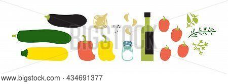 Fresh Ingridients For Vegetable Stew. Vegelables And Herbs. Horizontal Flat Vector Illustration Isol