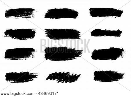 Set Of Grunge Paintbrush Vector Design Illustrations. Paintbrush Stroke Vector Collections, Collecti