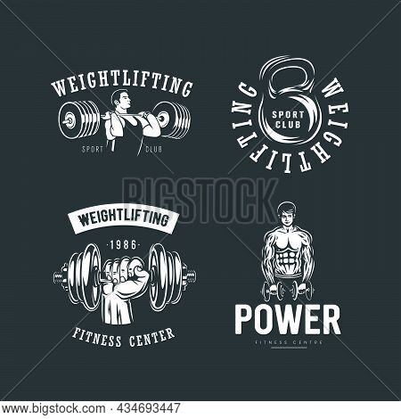 Fitness And Weightlifting Logo Set On Black Background.