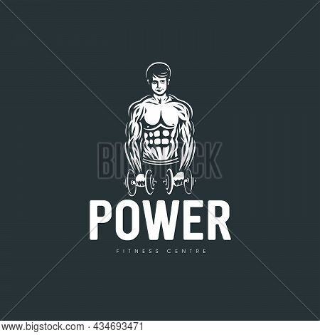 Logo With The Image Of A Muscular Man On The Theme Of Fitness And Weightlifting.