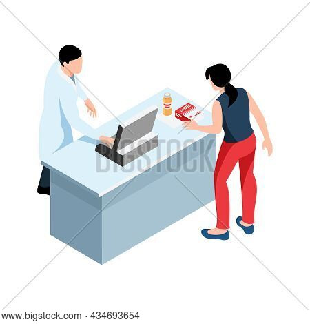 Drug Store Isometric Icon With Pharmacist And Woman Buying Medication 3d Vector Illustration