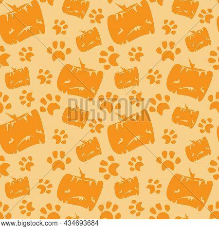 Vector Illustration Of A Seamless Grungy Halloween Pumpkin Pattern