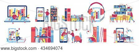 Online Library Color Icon Set Different Formats Of Reading Books On Your Smartphone In Library With