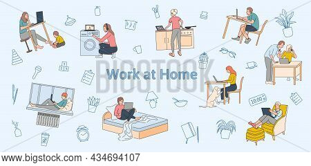 Work At Home Flat Background Illustrated Difficulties Of Teleworking And Multitasking Problems Vecto