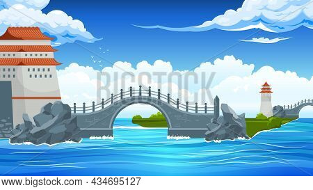 Bridges Landscape Composition With Bridge From Large Land To Small Island In The Sea Vector Illustra