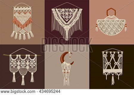 Handcrafted Macrame Design Concept Set Of Six Square Compositions With Wall Hanging For Home Decorat