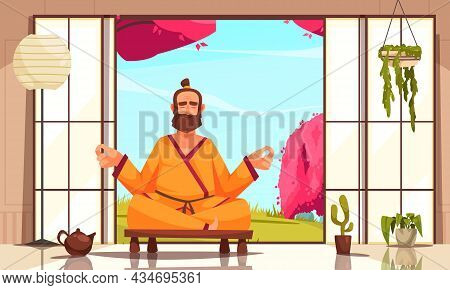 Restorative Yoga With Therapeutic Brew In Teapot Cartoon Composition With Man Meditating In Lotus Po