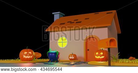 Decorated Cartoon House For Halloween, Isolated On A Black Background. The Porch Of The House Is Dec
