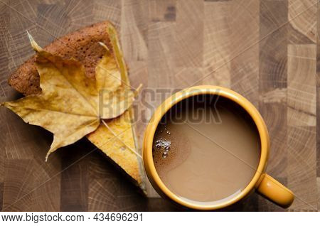 Concept Homemade Fall Baking With Pumpkin And Food Ingredients. Cup Of Coffee With Pumpkin Pie. Autu