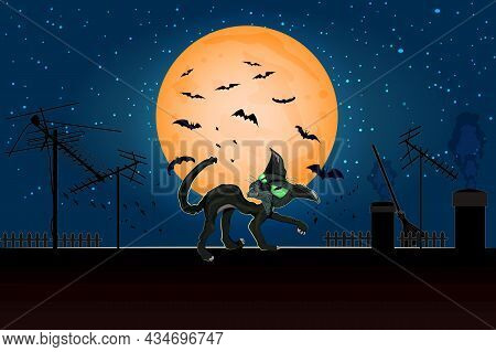 Halloween Angry Cat On Roof In Full Moon. Black Cat On House Roof With Moonlight And Starry Night. S