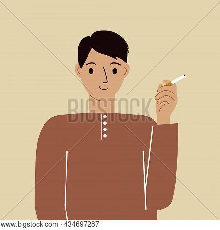 Smoke Break. The Man Smokes A Cigarette, Satisfied. Nicotine Addiction. Smoking Area. Vector Illustr