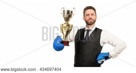 Proud Man Win Corporate Battle. Business Knockout. Boss Show Victory And Authority.