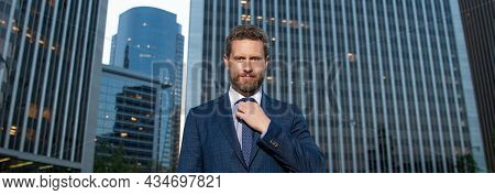 Stylish Businessperson In Businesslike Suit Outside The Office, Business