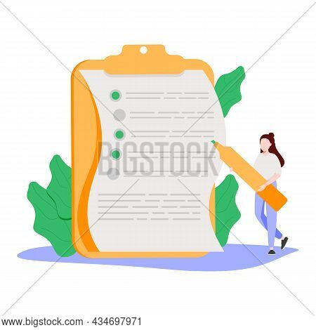 Woman With Pencil Filling In Paper Form Or Asking Questions In Questionnaire. Concept Of Public Surv