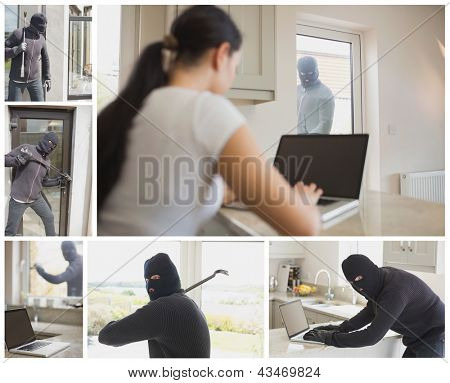 Collage of burglar activity in womans home