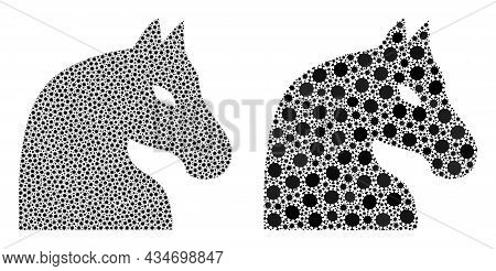 Vector Covid Mosaic Chess Horse Created For Lockdown Wallpapers. Mosaic Chess Horse Is Based On Icon