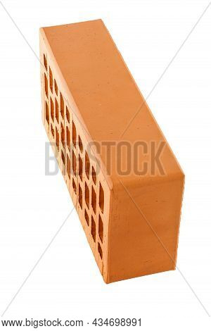 Perforated Red Brick Isolated On White Background In Rowlock Stretcher Perspective