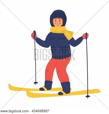Vector Illustration Of Kid Skiing Girl Skiing Flat Character. Cartoon Winter Sport