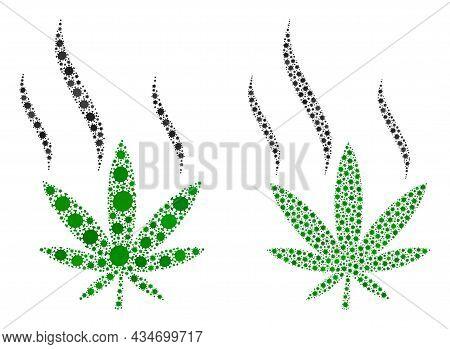 Vector Covid-2019 Mosaic Cannabis Smoke Constructed For Doctor Applications. Mosaic Cannabis Smoke I