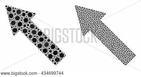 Vector Coronavirus Mosaic Left Up Arrow Designed For Pharmacy Illustrations. Mosaic Left Up Arrow Is
