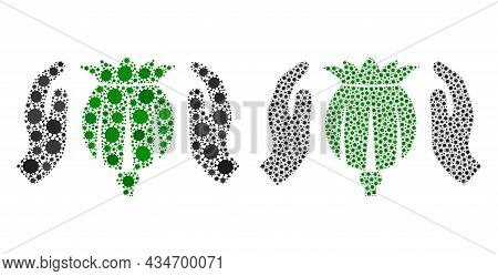 Vector Covid Mosaic Poppy Care Hands Organized For Lockdown Applications. Mosaic Poppy Care Hands Is