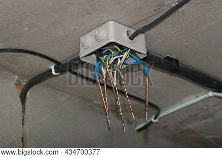 Installation Of Electrical Wiring During The Construction Of A House. Open Junction Box With Twisted
