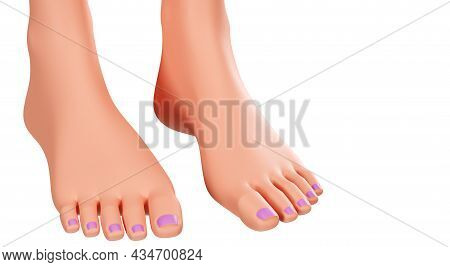 Beautiful Female Legs Isolated On A White Background. Well-groomed Toes, 3d Rendering. Women's Feet