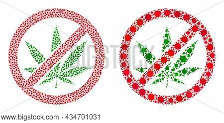 Vector Covid Composition Forbid Cannabis Created For Pandemic Wallpapers. Mosaic Forbid Cannabis Is