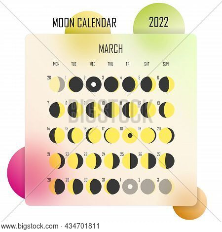 March 2022 Moon Calendar. Astrological Calendar Design. Planner. Place For Stickers. Month Cycle Pla