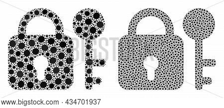Vector Covid Mosaic Secrecy Organized For Lockdown Advertisement. Mosaic Secrecy Is Based On Icon An