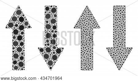Vector Coronavirus Mosaic Vertical Exchange Arrows Organized For Pandemic Posters. Mosaic Vertical E