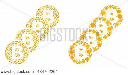 Vector Covid Collage Bitcoin Coin Blockchain Created For Pandemic Wallpapers. Mosaic Bitcoin Coin Bl
