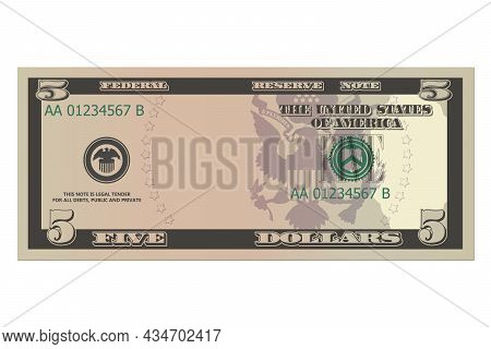 Five Dollars Without A Portrait Of Linkoln. 5 Us Dollars Banknote. Template Or Mock Up For A Souveni