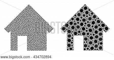 Vector Covid Mosaic House Combined For Doctor Purposes. Mosaic House Is Based On Icon And It Is Cons