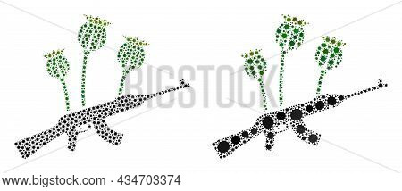Vector Covid Mosaic Opium Poppy Crime Combined For Clinic Illustrations. Mosaic Opium Poppy Crime Is