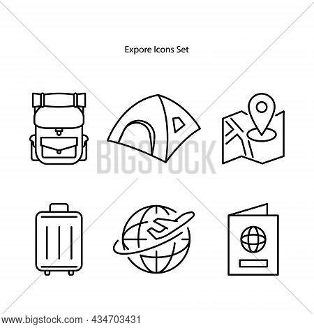 Explorer Icons Set Isolated On White Background. Explorer Icon Trendy And Modern Explorer Symbol For
