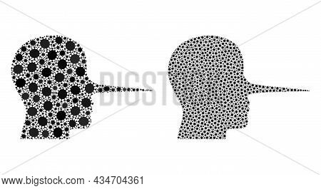 Vector Covid Mosaic Liar Person Done For Pandemic Advertisement. Mosaic Liar Person Is Based On Icon